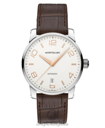 Montblanc Timewalker Automatic Silver Dial Brown Leather Men Watch 110340 3435